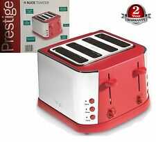 Prestige Create Classic Red 1800 Watts Stainless Steel 4-Slice Wide Slot Toaster