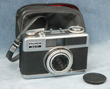 FUJICA HALF 1960s 35MM FILM HALF-FRAME CAMERA W/CASE & CAP - SEMI-WORKING?