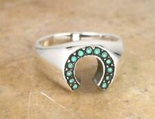 LARGE STERLING SILVER TURQUOISE HORSE SHOE RING size 6  style# r0733