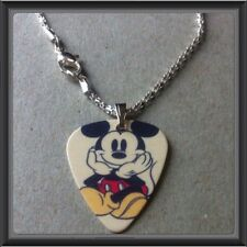 "���� Disney Mickey Mouse Guitar Pick WITH 16.5"" SILVER PLATED SNAKE NECKLACE NEW"