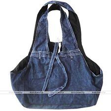 Pet Carrier Foldable Denim Soft Sided Cat/Dog Comfort Travel Sling Bag Dark Blue