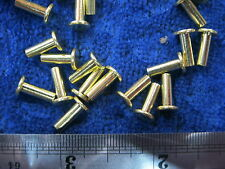 25 Solid brass 1/8 X 3/8 SCA armor rivets LARP FLAT steampunk costume model