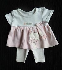 Baby clothes GIRL premature/tiny 7.5lbs/3.4kg pink girafe SS dress top/leggings
