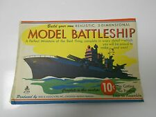 1940's 3-D MODEL BATTLESHIP Paper Toy Reed & associates in Orig Envelope VF+