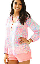 NWT Lilly Pulitzer Pink Pout Too Much Bubbly Silk Elsa Top, Sz M