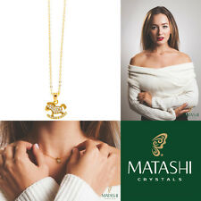"""16"""" Champagne Gold Plated Necklace w/ Rocking Horse & Clear Crystals by Matashi"""