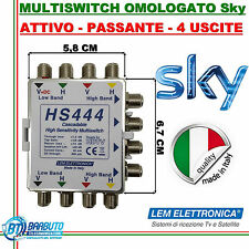 MULTISWITCH OMOLOGATO SKY 4 USCITE PASSANTE ATTIVO MODELLO HS444 LEM ELETRONICA