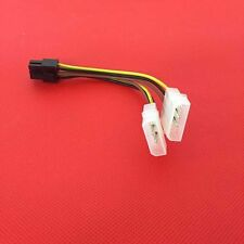 2pcs 6 Pin PCI Express Male to 2x IDE Molex Video Card Power Adapter O3