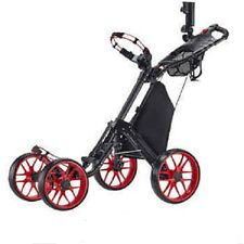 Caddytek One-click Folding 4 Wheel Golf Push Cart RED Aluminum Compact Storage