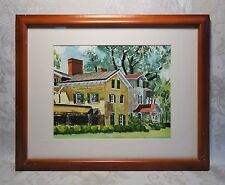 Vintage Mid Century Watercolor Painting of New England Houses Architecture 14x11
