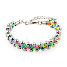 Rainbow Braided Beads Wristband Charm Bracelet Lobster Clasp Women Lucky Bangle