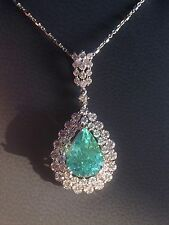 18K GOLD 7.24 CT GIA CERTIFIED NEON PARAIBA TOURMALINE DIAMOND PENDANT NECKLACE!