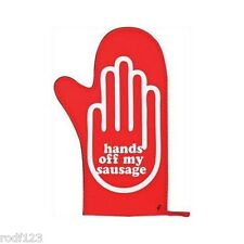 Crazy Cooks Hands Off My Sausage Red Single Oven Glove Mitt - Stain Resistant FS