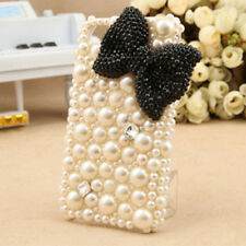3D Handmade Bling Black BOW Big crystal pearl for iphone 4 4S 4G case cover OB51