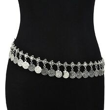 SUNSCSC Silver Coin Belly Dancing Tassel Waist Chain Belt Gypsy Bohemian Hipp...