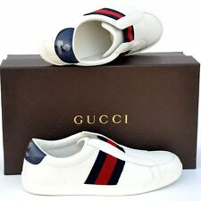 GUCCI New sz 9 G - US 9.5 Authentic Designer Web Logo Mens Sneakers Shoes white