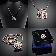 Damen Schmuck Zirkonia Halskette Original Design Swarovski Element Vergoldet R05