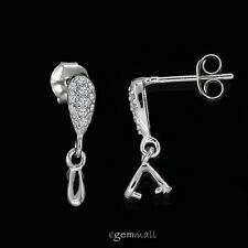 Sterling Silver CZ Teardrop Post Stud Earring Connector w/ Pinch Bail #99119