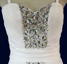 TERANI Couture Ivory High-Low Prom Formal Evening Gown Evening Pageant Size 10
