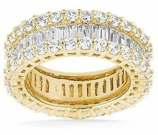 4.00 carat Round & Baguette Diamond ETERNITY Ring Band Size 4, 14K Yellow Gold