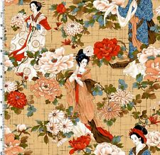 Fat Quarter Crane Dynasty Geisha Tan Cotton Quilting Fabric - Kona Bay