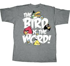 ANGRY BIRDS Rovio Fifth Sun BIRD IS THE WORD Gray BOYS YOUTH 14-16 T SHIRT New