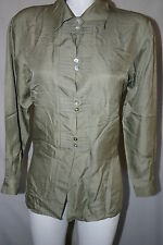 Anne Larson Women's Blouse Green Size S Silk Long sleeves Abalone Buttons Cuffs