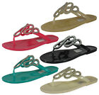 NEW LADIES WOMENS JELLY TOE-POST DIAMANTE BEACH SUMMER SANDAL SHOE SIZE 3-8