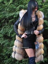 NEW ELITE GOLDEN ISLAND FOX FUR LONG GILET VEST COAT GOLD FUCHS UK SIZE 8-10