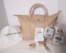NWT Longchamp Le Pliage Cuir Medium Sandy Beige Crossbody Tote Bag $540 Receipt!