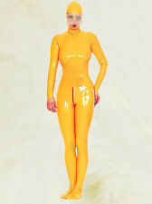 Latex Rubber Gummi Ganzanzug Tights Orange Catsuit Full-body Suit Size XS-XXL
