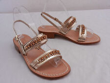 Women US 5 PRELUDIO Silver Leather Rhinestone Slingback Sandals CAPRI ITALY