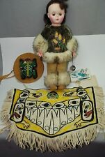 1988 Tlingit L. Hawkins Sitka Alaska Doll OLD Trade Beads Frog Chilkat Blanket