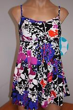 NWT Swim Solutions Swimsuit 1 one piece Size 12 Attached Dress Vntge Grdn Black