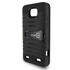 For ZTE Zephyr / Paragon Case - Black Hybrid Tough Skin Phone Cover