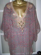 Beautiful BADGLEY MISCHKA Butterfly style Top Blouse Shirt Pink Turquoise Sz. M