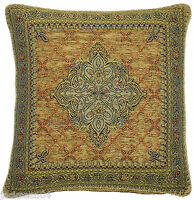 """2X STUNNING BLUE GOLD FUNKY AZTEC TAPESTRY CHENILLE THICK CUSHION COVER 18 X 18"""""""