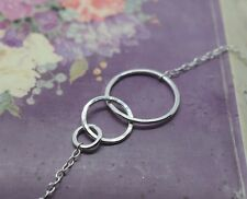 Silver Karma Necklace - Sterling 925 Eternity Infinity 3 Triple Ring Friendship
