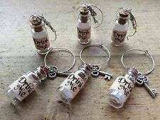 Wine Charms 6 Drink Me Alice In Wonderland Style Glass Bottles Wedding Party