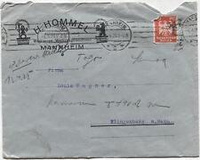 (131) 1925 Kuvert von Geschäftsbrief Mannheim  Werkzeuge + Maschinen HOMMEL