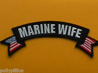 MILITARY BIKER BANNER FANCY DRESS SEW ON / IRON ON PATCH:- MARINE WIFE