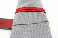 Men's Alfani polyester Neck Dress Tie Necktie Silver Text Solid with Chain