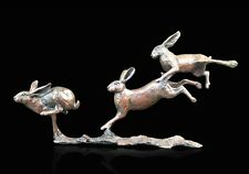 Small Hares Running Solid Bronze Foundry Cast Sculpture by Michael Simpson (801)