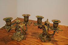 BEAUTIFUL PAIR OF ANTIQUE BRASS ORNATE CANDLESTICKS DECORATIVE CANDLE HOLDERS...