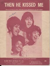 """THE CRYSTALS  Rare 1963 Australian Only Original Sheet Music """"Then He Kissed Me"""""""