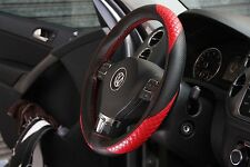 Black+Red PVC Leather DIY Steering Wheel Stitch Cover Wrap w/Needle+Thread 47010