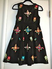 Nanette Lepore Black Floral Short Dress Embroidered Flowers Size 0 New