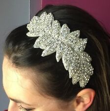 Silver Rhinestone Headdress 1920s Flapper Headband Vintage Great Gatsby Bridal