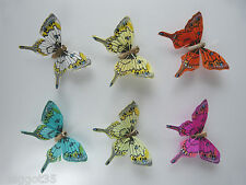 12 Swallowtail Feather Butterflies 6 colours, Great for Cake toppers.