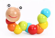 Baby Kids Cute Caterpilla Wood Early Education Toys For Infant Boy Girl Gift